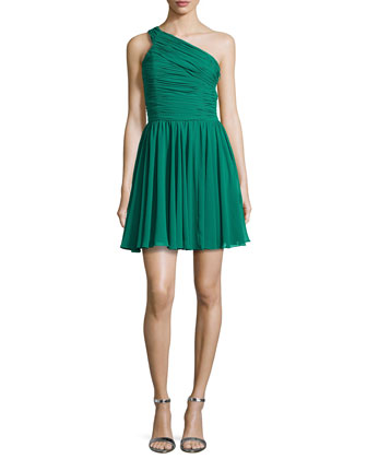 One-Shoulder Ruched Dress, Emerald