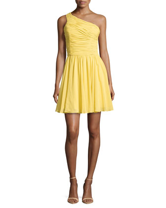 One-Shoulder Ruched Dress, Dandelion