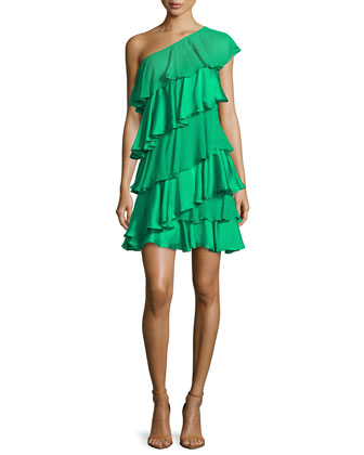 One-Shoulder Tiered Ruffle Dress, Grass