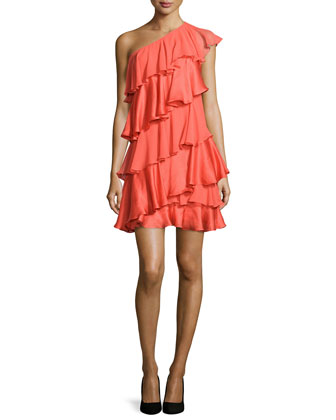 One-Shoulder Tiered Silk Dress, Tangelo