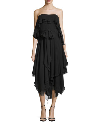 Strapless Handkerchief Silk Dress, Black