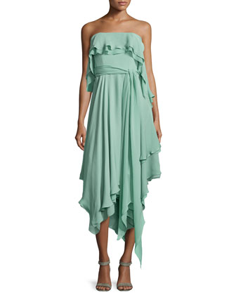 Ruffle-Trim Strapless Dress, Celadon