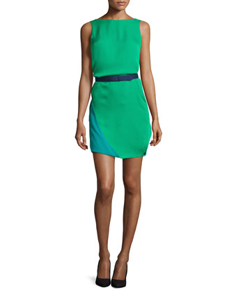 Bicolor Belted Cape-Back Dress, Grass/Teal