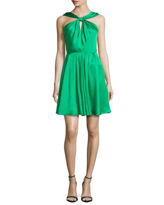Satin Knot-Front Dress, Grass