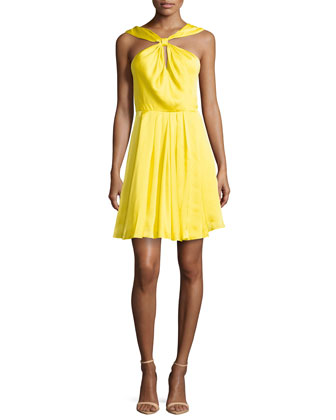 Satin Knot-Front Dress, Citron