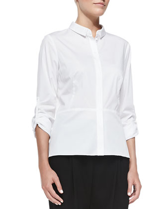 Salem Peplum Long-Sleeve Blouse