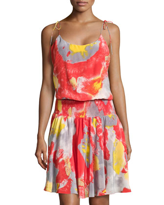 Tie-Shoulder Smock-Waist Dress, Poppy Water Mirage