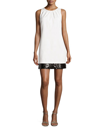 Bead-Embellished Sateen Shift Dress, Cream/Black