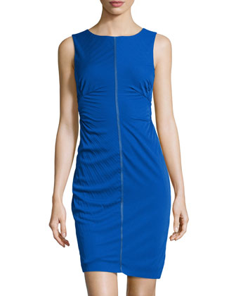 Sunburst-Pleated Sheath Dress, Bright Cobalt