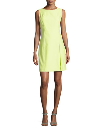 Sleeveless Pleat-Detail Dress, Lemonade