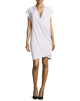 Draped-Front Silk Wrap Dress, Freesia