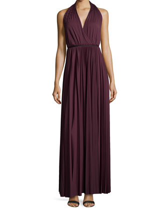 Plisse Jersey Halter Gown, Aubergine
