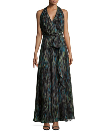Striated Chiffon Halter Maxi Dress, Dark Emerald