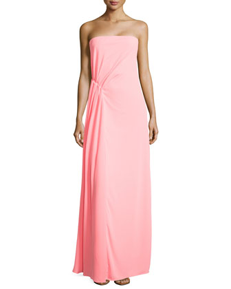 Strapless Ruched-Waist Gown, Bright Guava