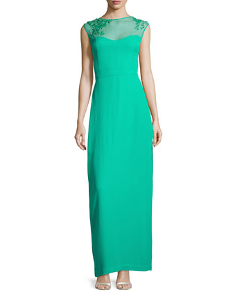 Beaded Illusion-Neck Crepe Gown, Spearmint
