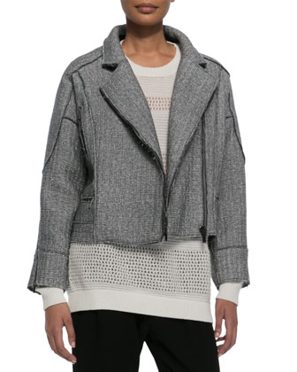 Sweater-Knit Moto Jacket