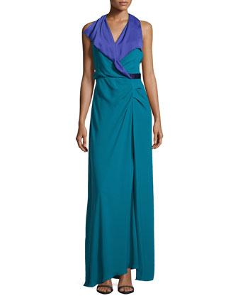 Surplice Contrast Crepe Gown, Atlantic/Violet