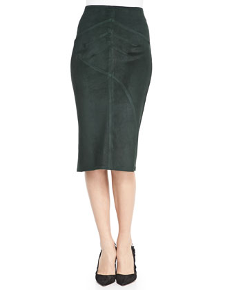 Seamed Suede Pencil Skirt