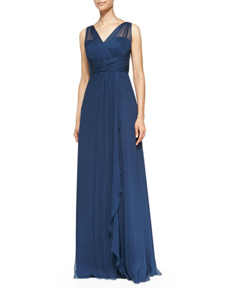 Mesh-Overlay Pleated-Bodice Gown, French Blue