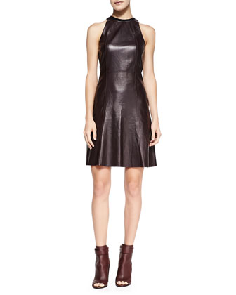Sleeveless Leather Fit & Flare Dress