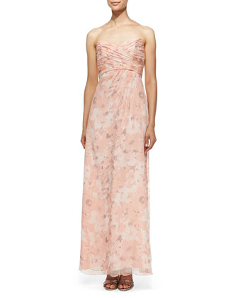 Strapless Printed Gown, Shell