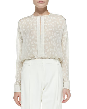 Silk Animal-Spot Long-Sleeve Blouse, Ivory