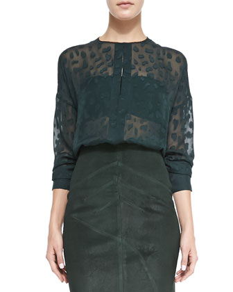 Silk Animal-Spot Blouse and Seamed Suede Pencil Skirt