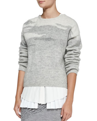 Long-Sleeve Crewneck Sweater, Gray Multi
