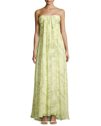 Strapless Printed Draped Silk Gown, Chamomile