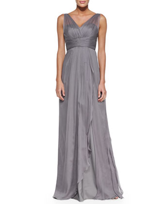 Sleeveless Pleated-Bodice Gown, Charcoal