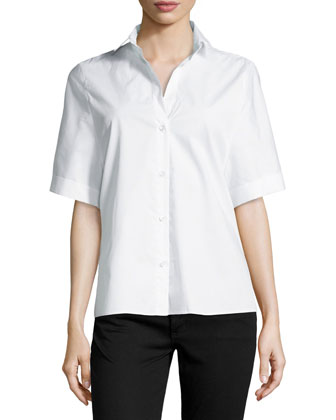 Oversized Short-Sleeve Button-Front Blouse, White