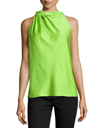 Sleeveless Mock-Neck Charmeuse Top, Lime Green