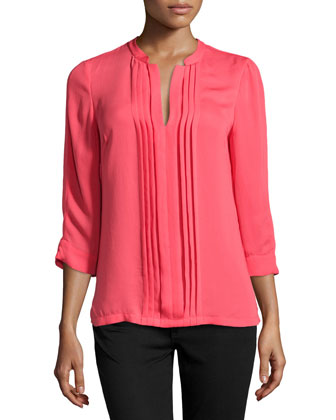 Long-Sleeve Pleated Voile Blouse, Coral