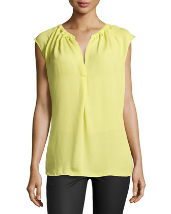 Sleeveless Georgette Top with Pleating, Daffodil