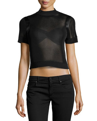 Satin-Trimmed Mesh Crop Top, Black