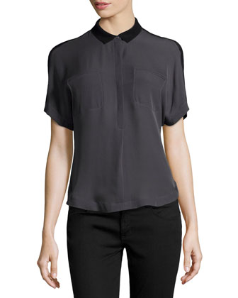 Half-Button Silk Combo Top, Charcoal/Black