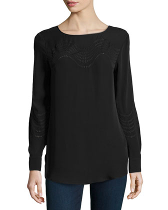 Eyelet-Trim Silk Top, Black