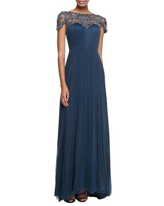 Zandra Cap-Sleeve Beaded-Bodice Gown