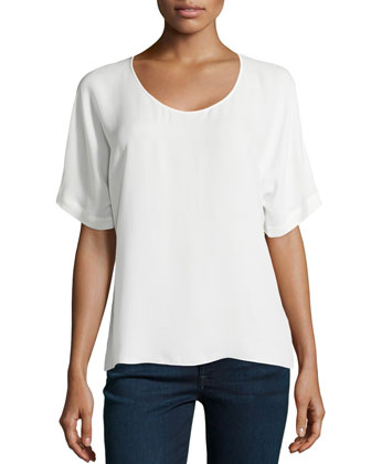 Silk Shirttail-Hem Boxy Top, Chalk