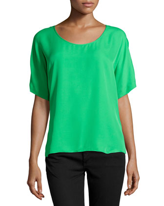 Short-Sleeve Boxy Top, Grass