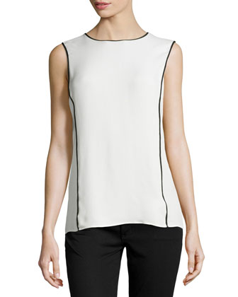 Contrast-Binding Silk Top, Linen White/Black