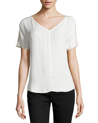 Open Cross-Stitch-Trimmed Silk Top, Linen White/Flint