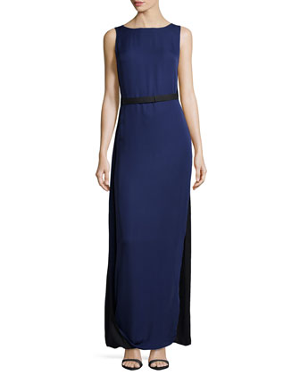 Caped-Back Colorblock Silk Gown, Midnight/Black