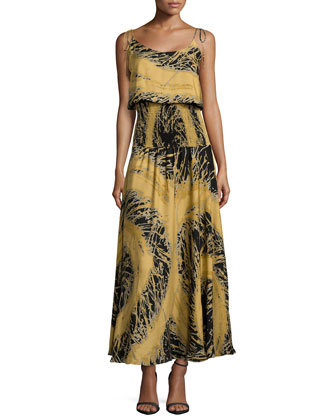 Tie-Strap Blouson Smock Gown, Black Starburst