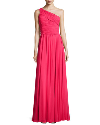 Ruched Chiffon One-Shoulder Gown, Rose