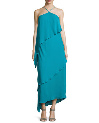 Asymmetric Tiered-Ruffle Halter Gown, Teal
