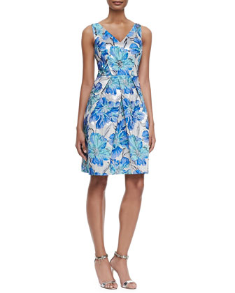 Floral-Brocade Cocktail Dress