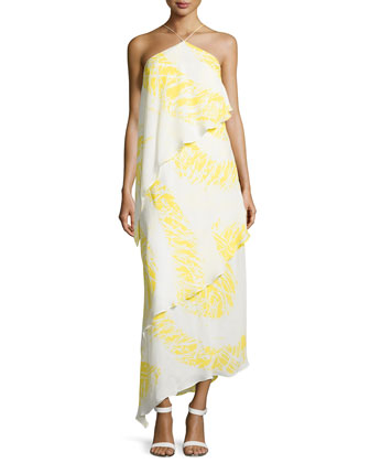 Asymmetric Tiered Halter Gown, Citron Starburst