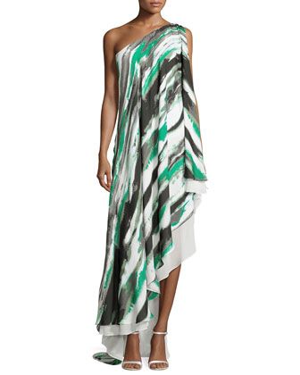 One-Shoulder Brushstroke-Print Cascading Gown, Grass Water
