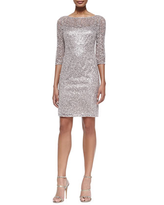 Sequined Lace-Overlay Cocktail Dress
